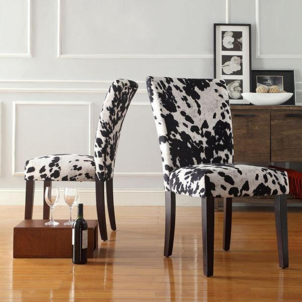 Homesullivan Whitmire Black Cowhide Fabric Parsons Dining Chair Set Of 2 40721f24s2pc The Home Depot