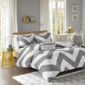 Gemini 4-Piece Grey Full/Queen Duvet Cover Set