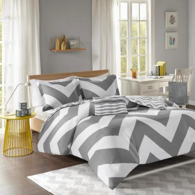 Gemini 4-Piece Grey King/California King Printed Duvet Cover Set