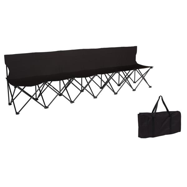 Portable 6-Seater Black Folding Team Sports Sideline Chair with Back