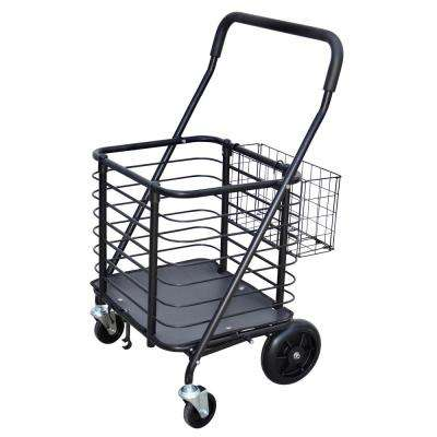 Heavy-Duty Steel Shopping Cart with Accessory Basket in Black