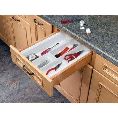 2.38 in. H x 14.25 in. W x 21.25 in. D Medium Glossy White Cutlery Tray Drawer Insert