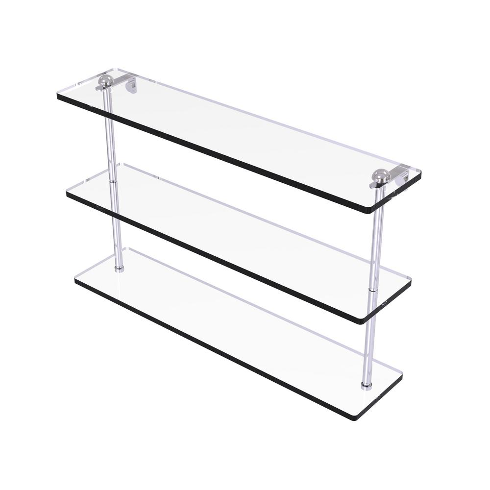 22 in. Triple Tiered Glass Shelf in Polished Chrome