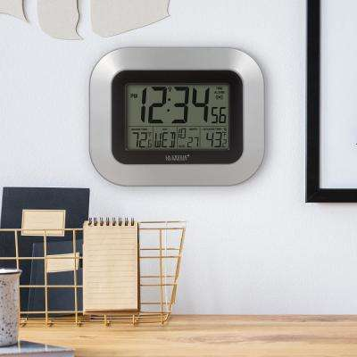 9 in. x 7-1/4 in. Digital Atomic Silver Wall Clock with Temperature
