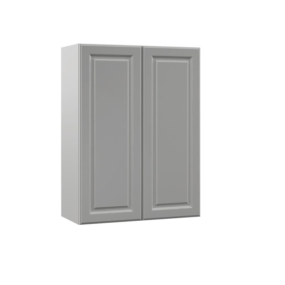 Hampton Bay Designer Series Elgin Assembled 27x36x12 in. Wall Kitchen Cabinet in Heron Gray ...