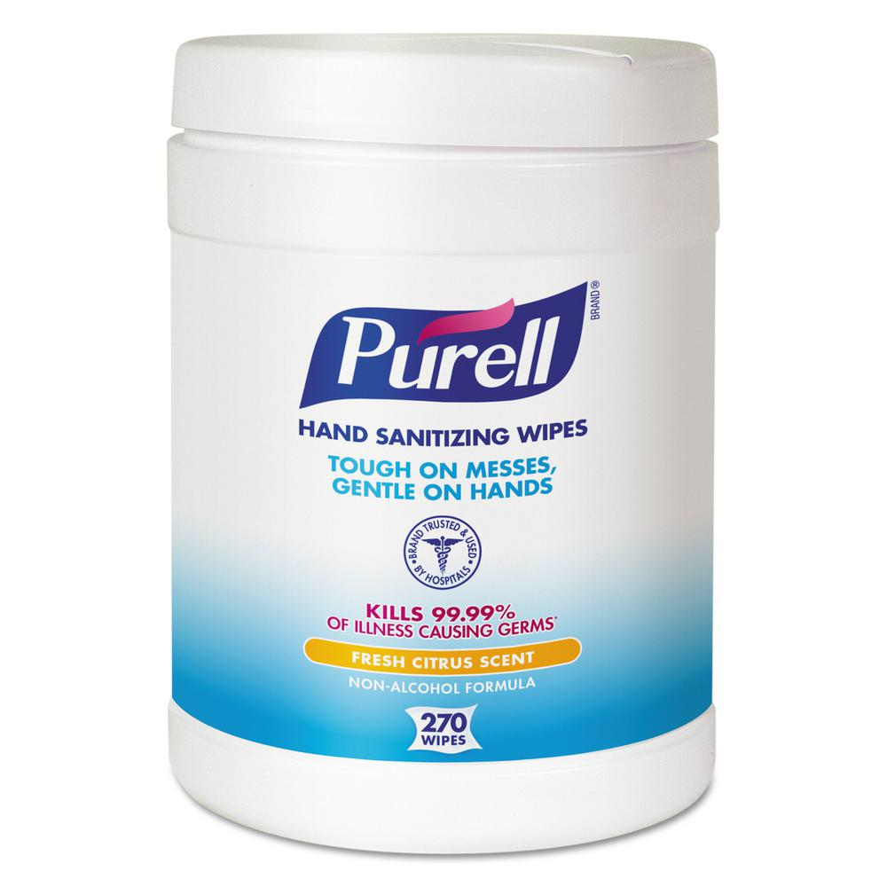Purell 6 in  x 6-3/4 in  White Sanitizing Hand Wipes (270/Canister, 6  Canisters/Carton)