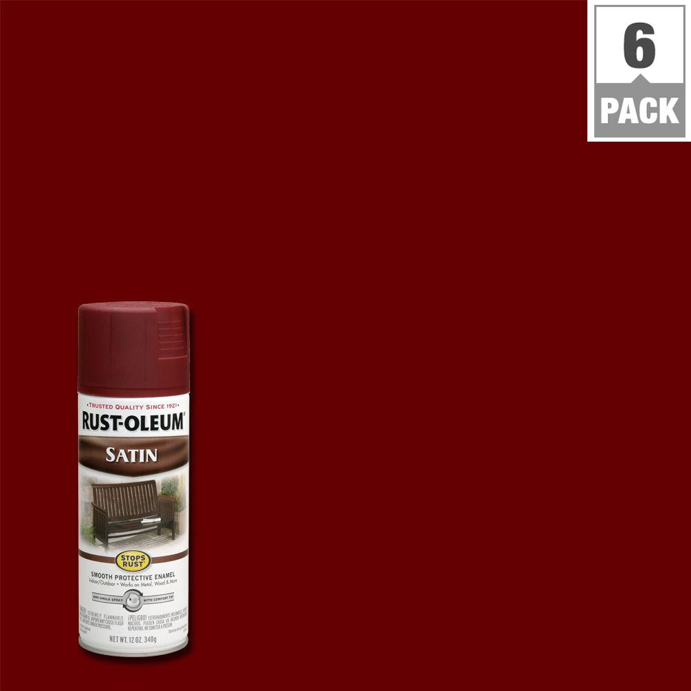 12 oz. Protective Enamel Satin Cabernet Spray Paint (6-Pack)