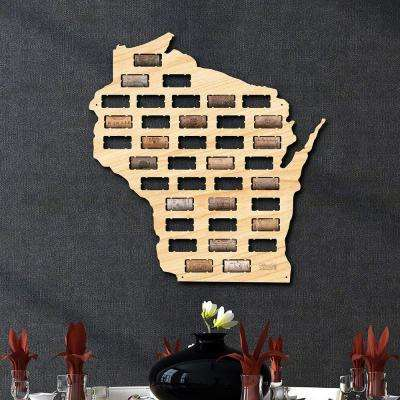 18 in. x 17 in. Wooden Wisconsin Wine Cork Map