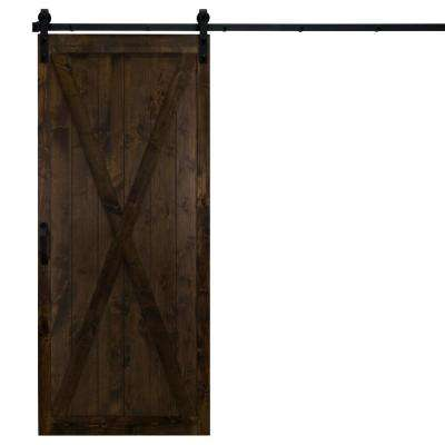36 in. x 84 in. Classic X Dark Chocolate Alder Wood Interior Barn Door Slab with Sliding Door Hardware Kit