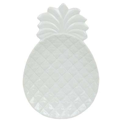 Island Elegance Glazed White Ceramic Pineapple Spoon Rest