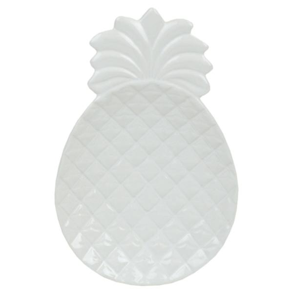 Home Basics Island Elegance Glazed White Ceramic Pineapple Spoon Rest