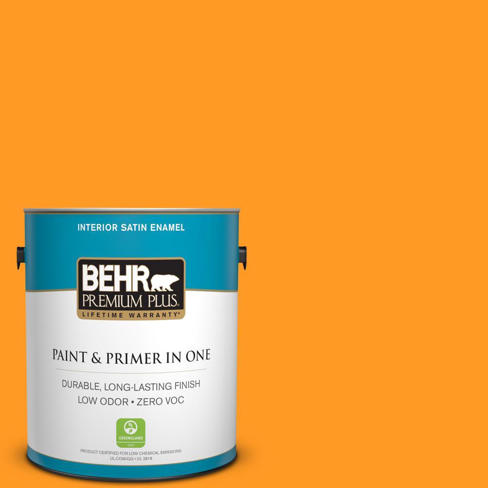 1 gal. #300B-7 Goldfish Satin Enamel Zero VOC Interior Paint and