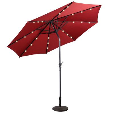 10 ft. LED Steel Market Tilt Patio Solar Umbrella with Crank Outdoor in Burgundy