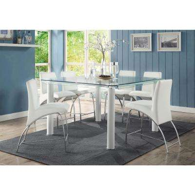 Gordias Chrome and White PU Counter Height Chair