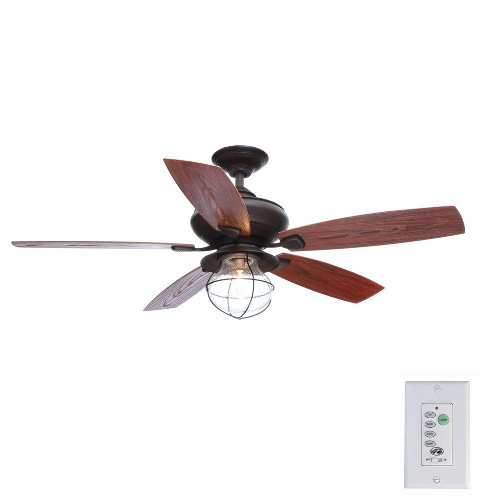 Hampton Bay Sailwind II 52 in. Indoor/Outdoor Oil-Rubbed Bronze Ceiling Fan with Wall Control and Light Kit