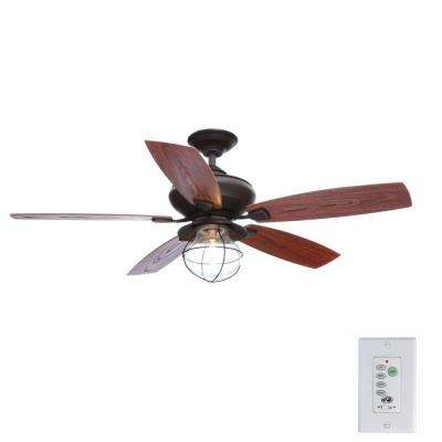 Sailwind II 52 in. Indoor/Outdoor Oil-Rubbed Bronze Ceiling Fan with Wall Control and Light Kit