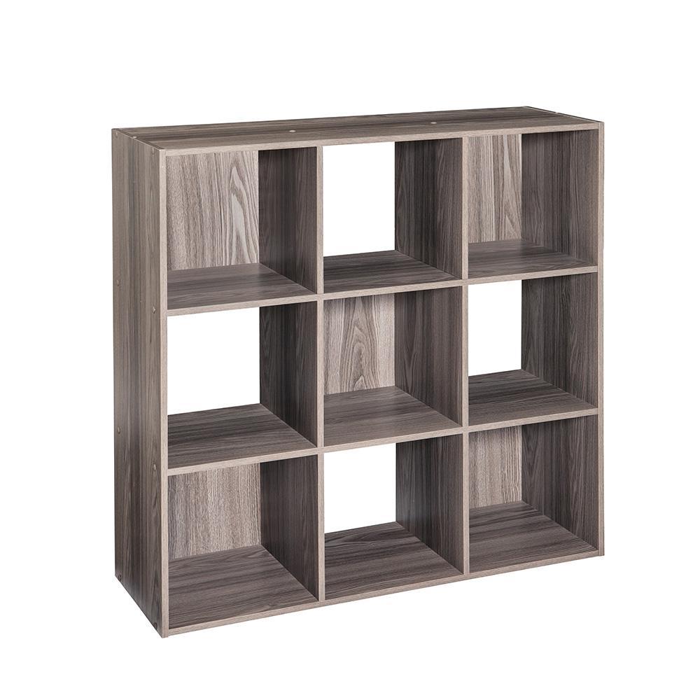 36 in. H x 36 in. W x 12 in. D Grey Wood 9-Cube Storage Organizer