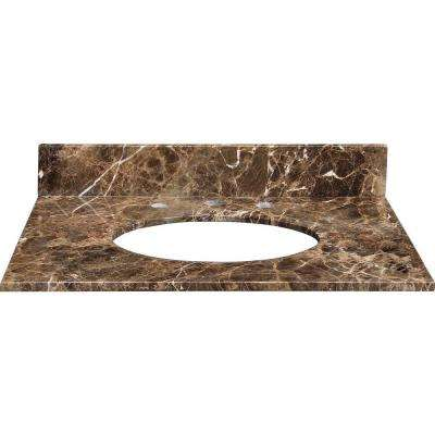 25 in. Marble Vanity Top in Dark Emperador without Basin