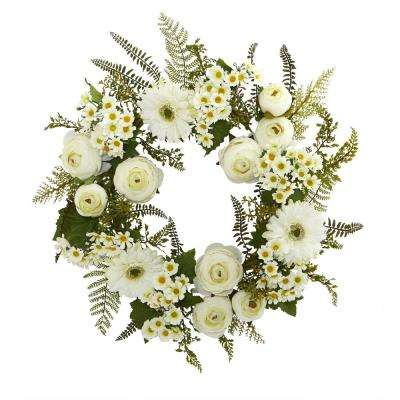 24 in. Mixed Daisies and Ranunculus Wreath