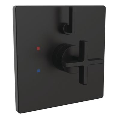 Lura Cross 1-Handle Wall-Mount Diverter Shower Valve Trim in Matte Black