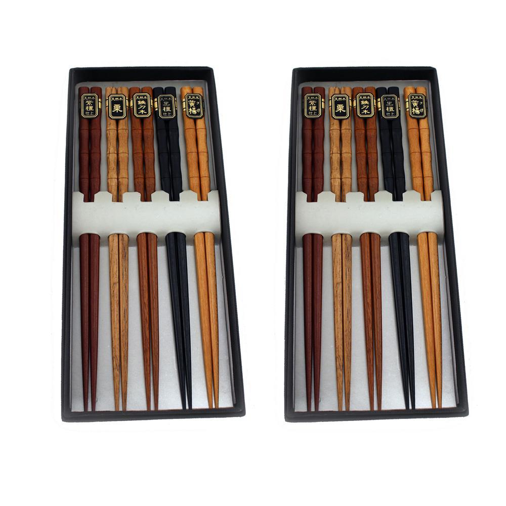 10 Pairs Bamboo Wooden Chopsticks