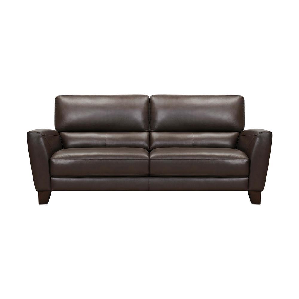 Kester 81 in. Square Arm Espresso Leather Sofa