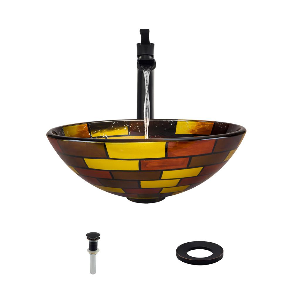 Glass Vessel Sink in Stained Glass with 731 Faucet and Pop-Up