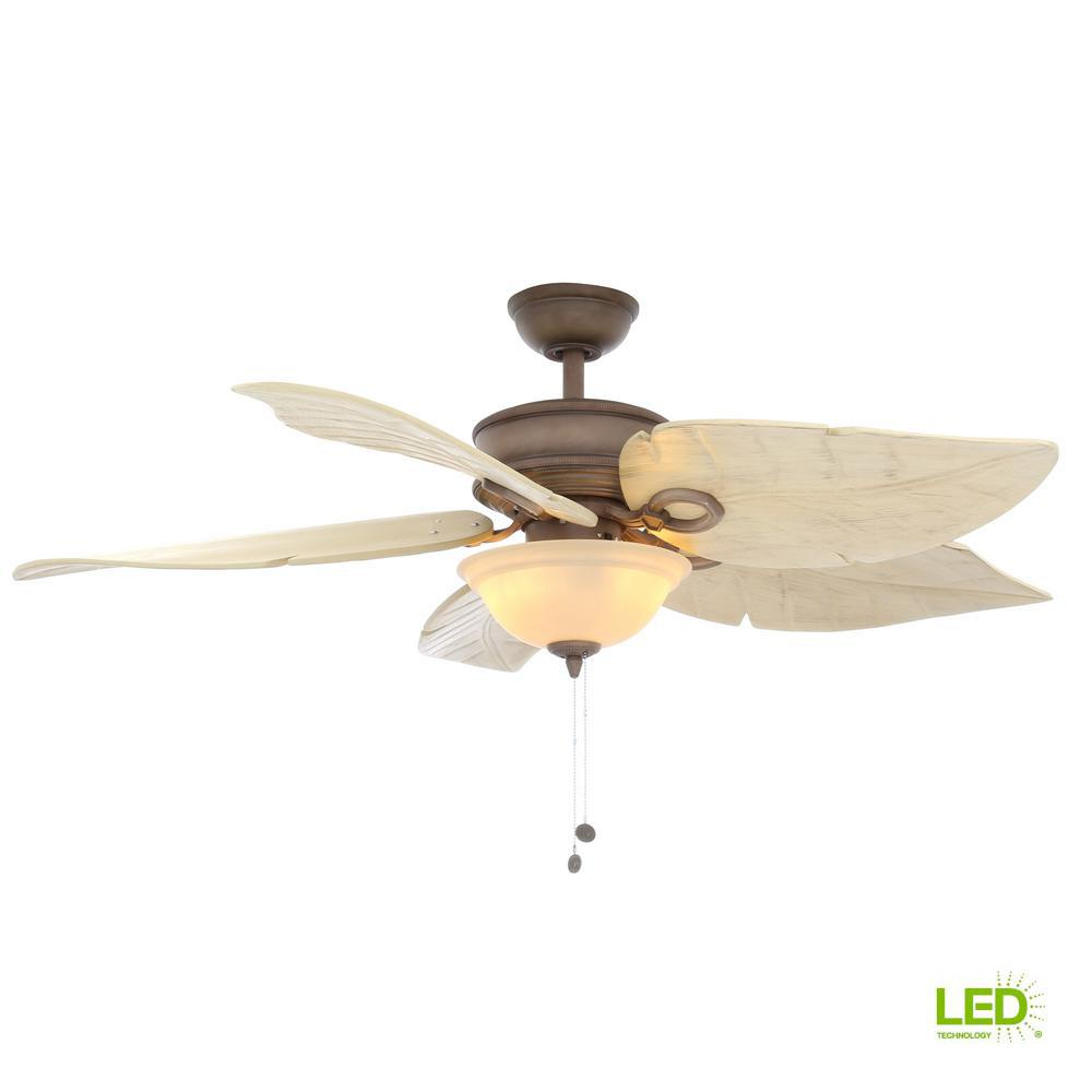 Hampton Bay Costa Mesa 56 In Led Indoor Outdoor Weathered Zinc Ceiling Fan With Light Kit