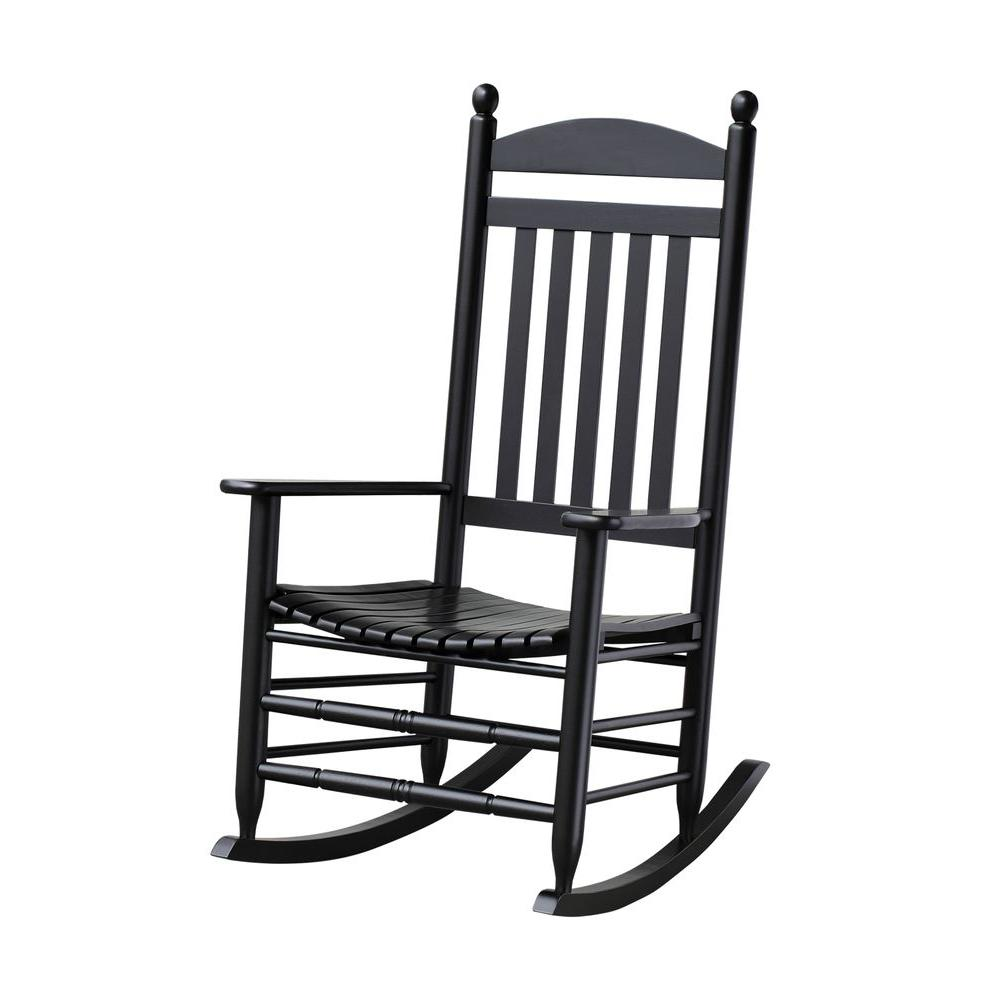 Superb Bradley Black Slat Patio Rocking Chair