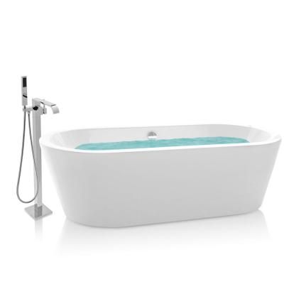 70.8 in. Acrylic Tub for Bathtub with Tub Filler Combo - Modern Flat Bottom Stand Alone Tub in Glossy White