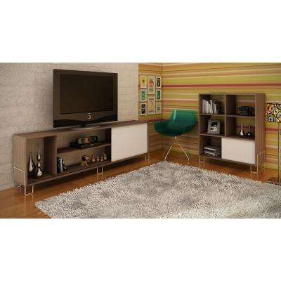 Nacka 1.0 Oak and White Entertainment Center
