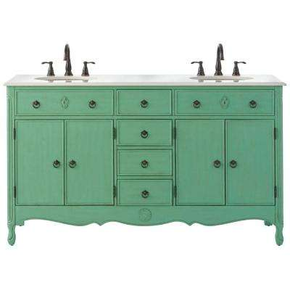 Keys 61 in. W Vanity in Distressed Aqua Marine with Marble Vanity Top in Cream with White Basin