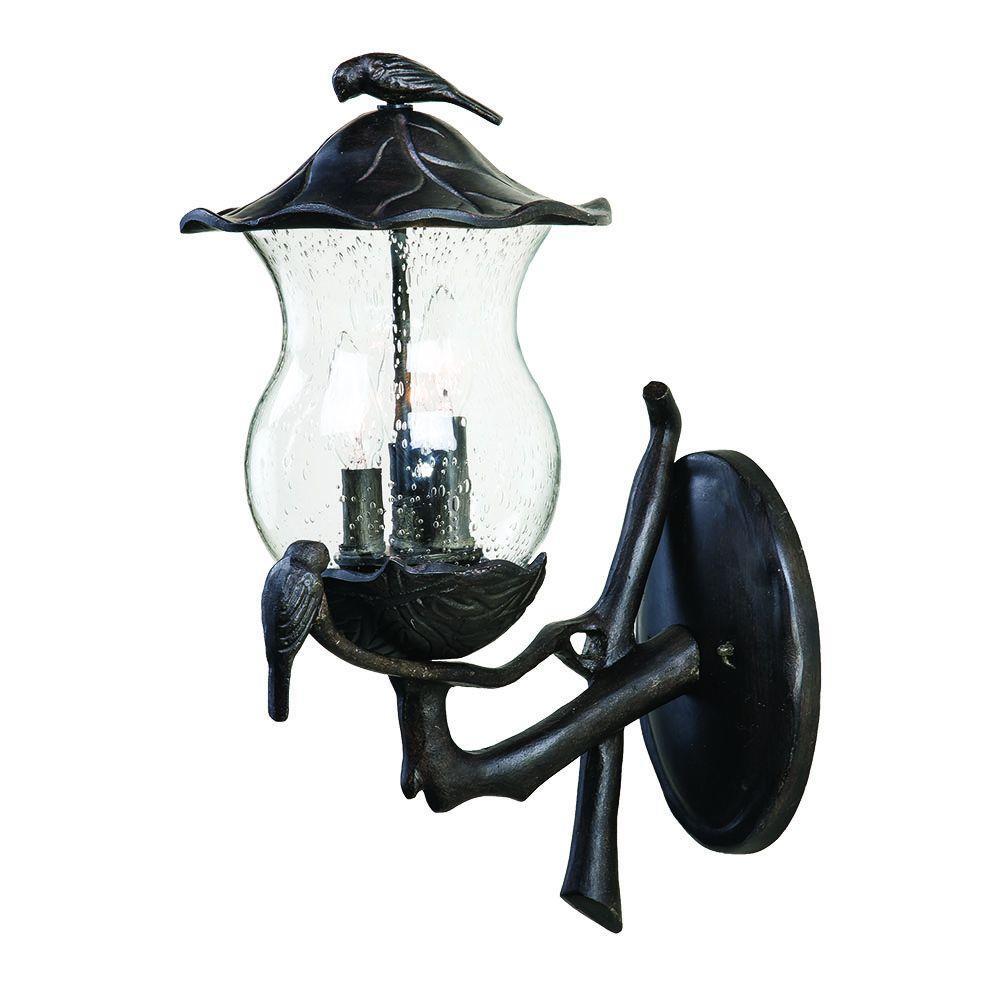 Avian Collection 3-Light Black Coral Outdoor Wall Mount Light Fixture