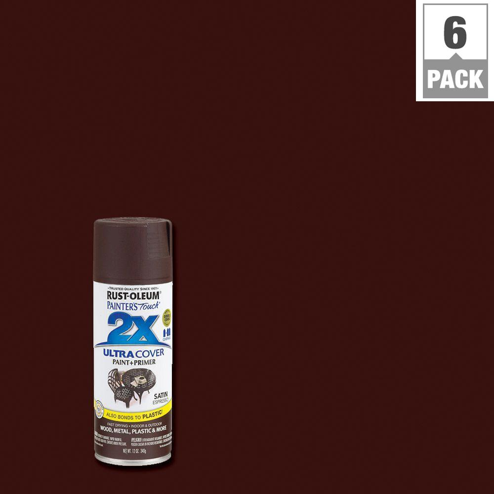Rust-Oleum Painter's Touch 2X 12 oz. Satin Espresso General Purpose Spray Paint (6-Pack)