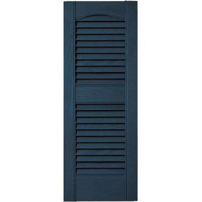 12 in. x 31 in. Louvered Vinyl Exterior Shutters Pair in #036 Classic Blue