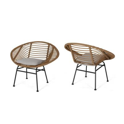 Lufbery Beige and Light Brown Rattan Woven Chairs (Set of 2)