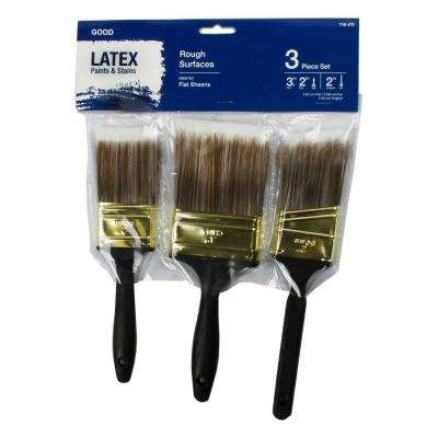 2 in. Flat Cut, 3 in. Flat Cut, 2 in. Angled Sash Polyester Paint Brush Set (3-Piece)