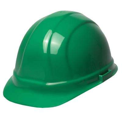 Omega II 6 Point Nylon Suspension Slide-Lock Cap Hard Hat in Green
