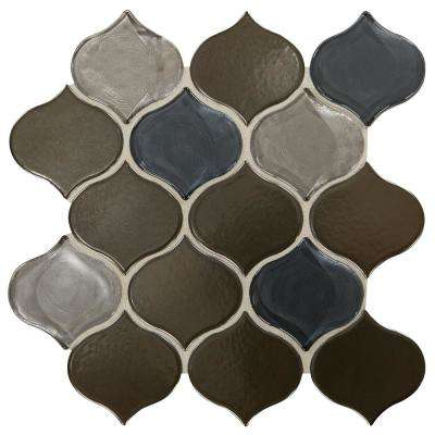 Premier Accents Evening Gray Arabesque 11 in. x 11 in. x 10 mm Glass and Porcelain Mosaic Tile