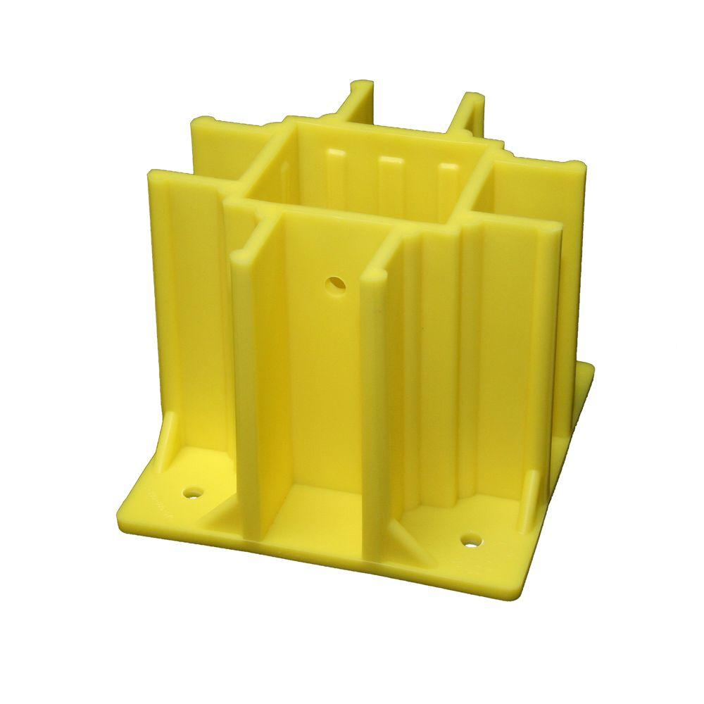 Safety Boot Yellow OSHA Compliant Guardrail Base with Toeboard Slots (Case of 24)