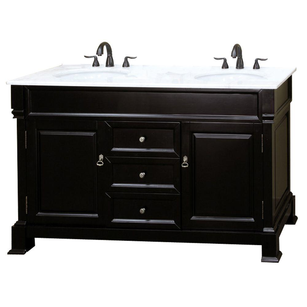 Cambridge Es 60 in. Double Vanity in Espresso with Marble Vanity