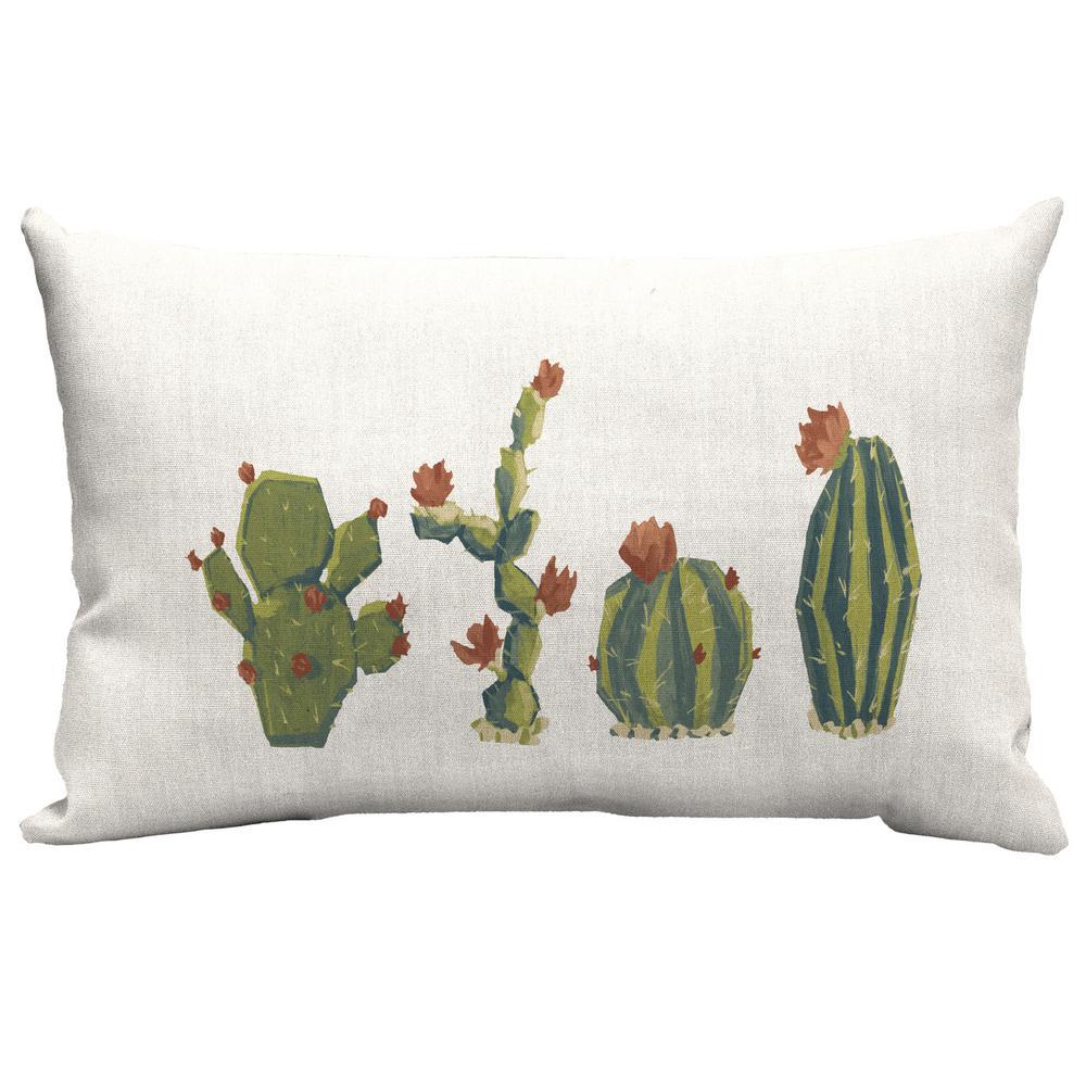Hampton Bay Cactus Lumbar Outdoor Lumbar Throw Pillow Tk1y110b 9d4 The Home Depot