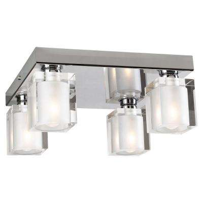 Anette 4-Light Polished Chrome Flushmount with Frosted Glass