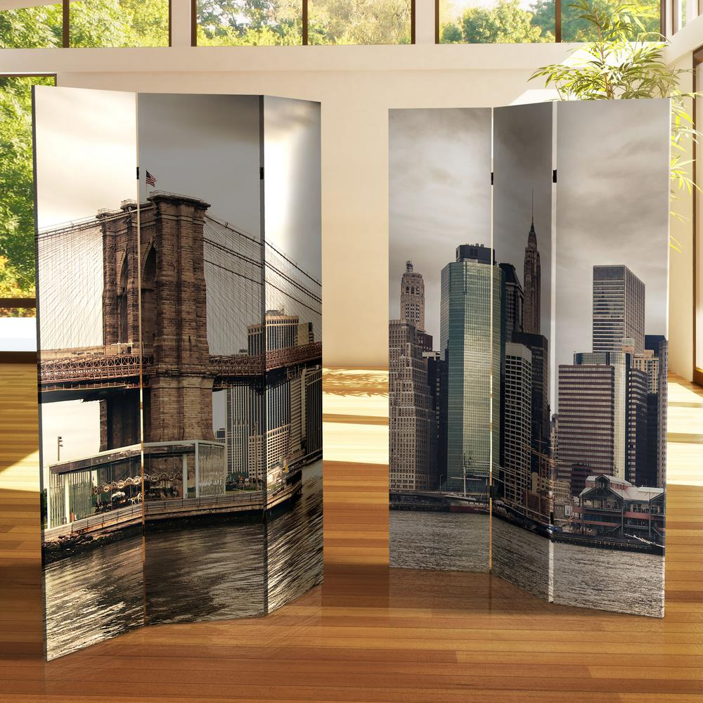 Oriental Furniture New York 6 ft. Printed 3-Panel Room ...