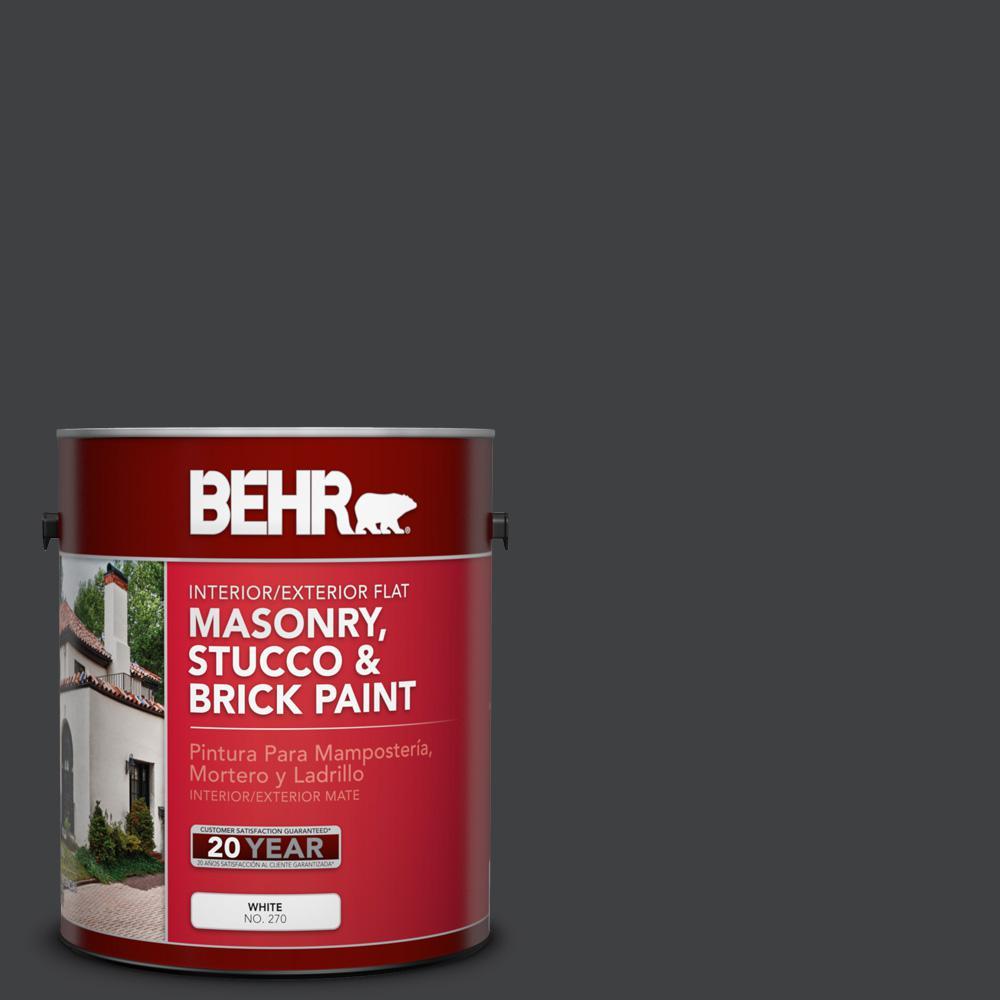 1 gal. #PFC-75 Tar Black Flat Interior/Exterior Masonry, Stucco and Brick Paint