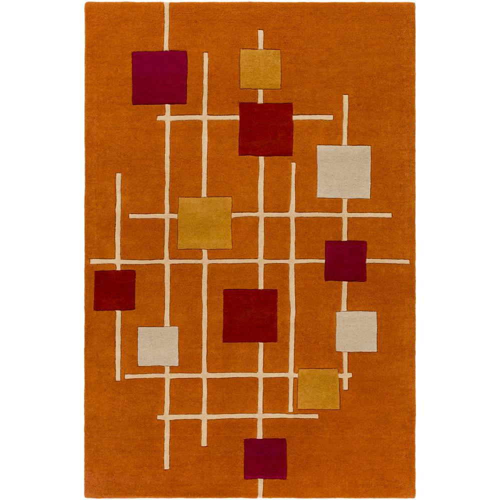 Tellis Burnt Orange 6 ft. x 9 ft. Area Rug