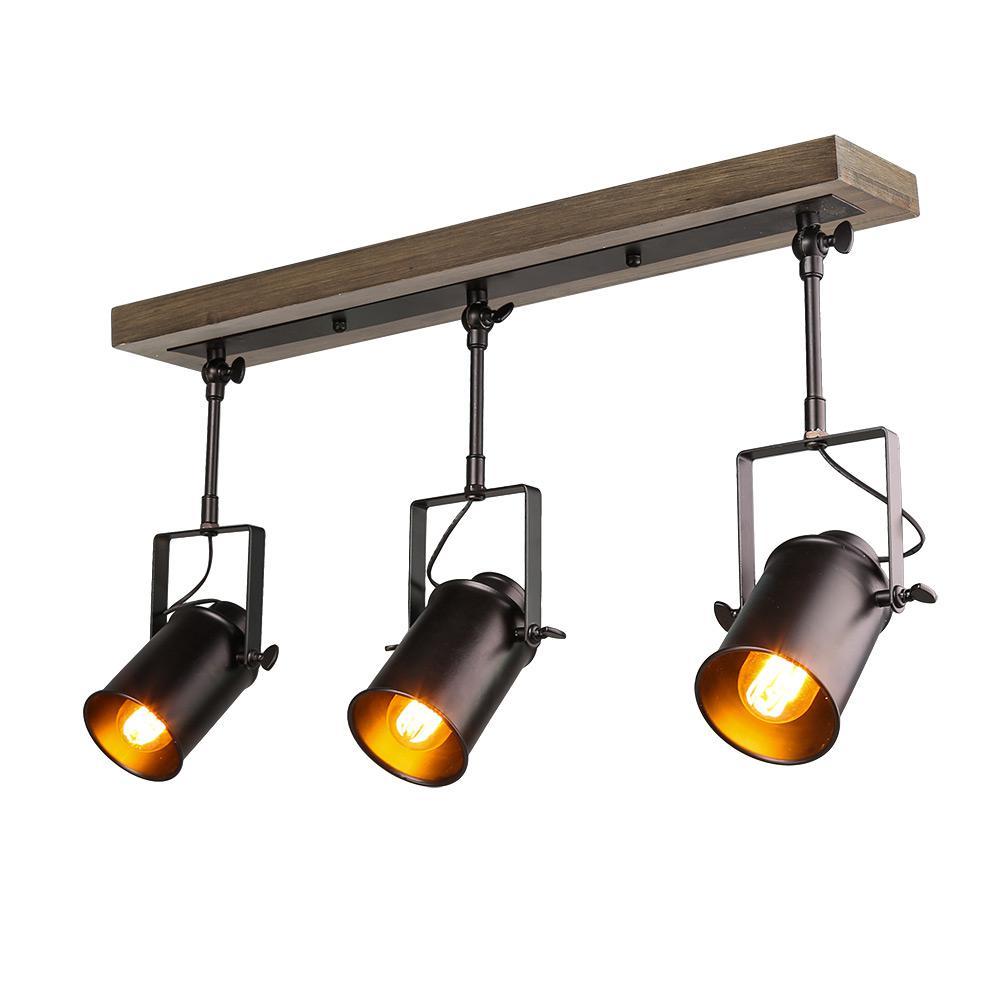 LNC 2 ft  3-Light Wood Spotlights Black Track Lighting Kit