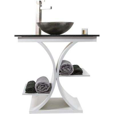 Cruz 31 in. W x 21.65 in. D Bath Vanity in White with Granite Vanity Top in Black with Black Nickel Basin