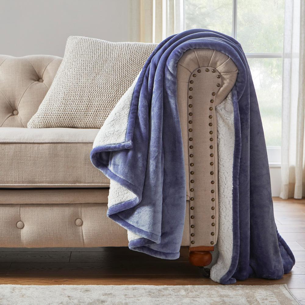 Oversized Plush Washed Denim Throw Blanket