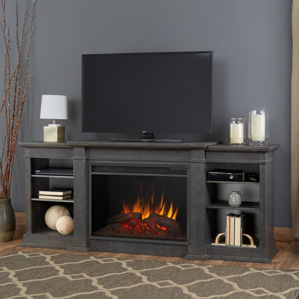 Offer ample storage space by choosing this Real Flame Eliot Grand Entertainment Center Electric Fireplace in Antique Gray.